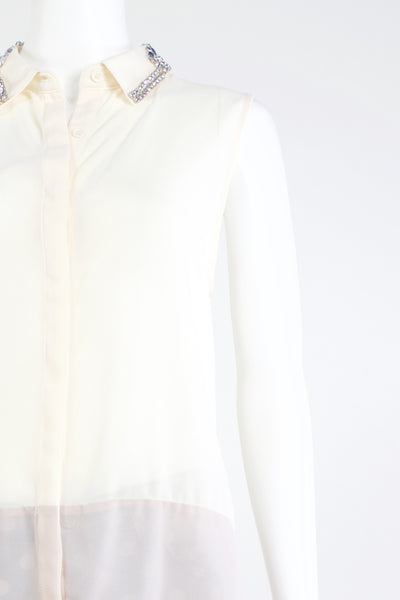 Crystal Collar Top - Ivory/Pink