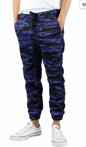 Tiger Camo Twill Joggers - Purple