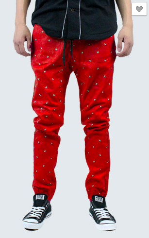 Paisley Print Joggers - Red