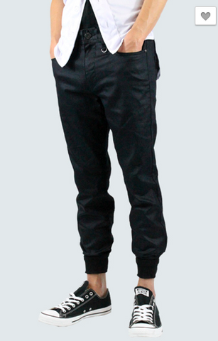 Raw Denim Joggers - Waxed Black