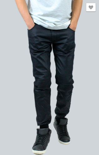 Wax Coated Twill Biker Joggers - Black