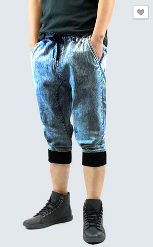 Washed Denim Jogger Shorts - Ice Blue