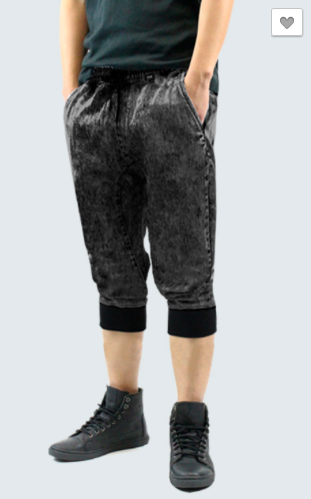 Washed Denim Jogger Shorts - Black