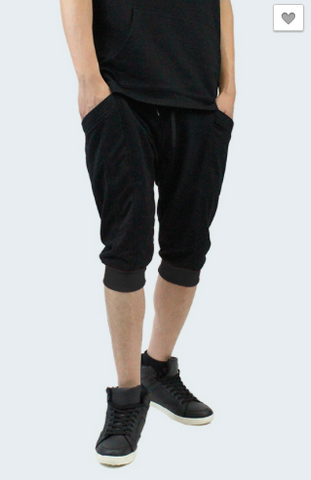 French Terrycloth Jogger Shorts- Black