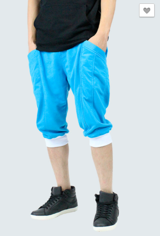 French Terrycloth Jogger Shorts - Aqua