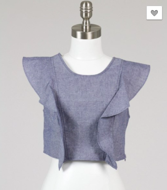 Sleeveless Crop with Ruffle - Denim