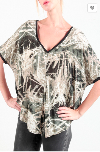 Marbled Poncho Top