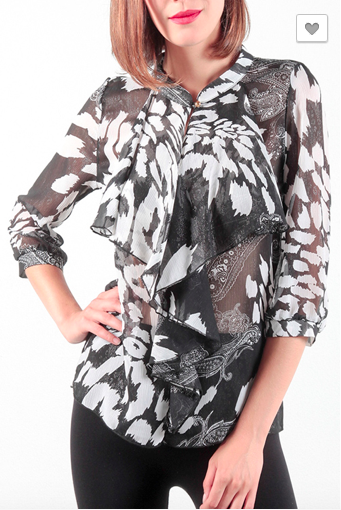 Safari Print Bow Front Blouse