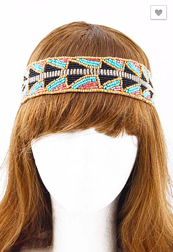 Sewn bead head band