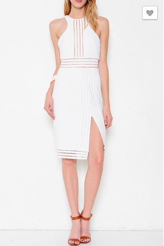 Striped Mesh Trim Sleeveless Dress - White