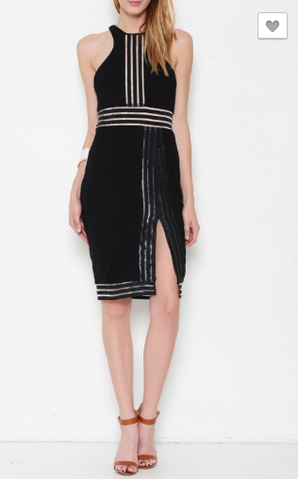 Striped Mesh Trim Sleeveless Dress - Black