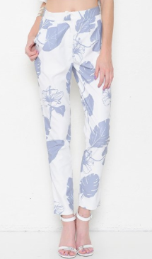 Tropical Leaf Print High-Waisted Pants