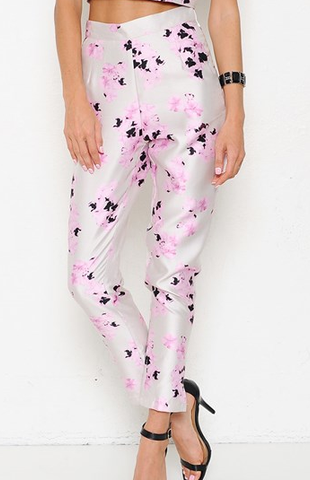 Orchid Print High Waist Pants