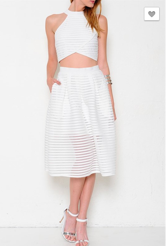 White Texture Stripe Crop Top