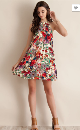 Floral Print Sleeveless Mock Neck Dress
