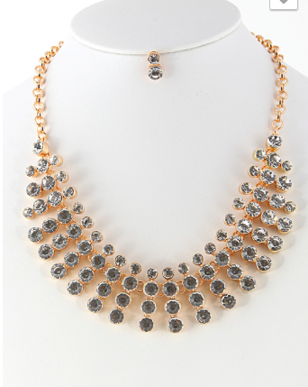 Clear Droplet Lined Statement Necklace