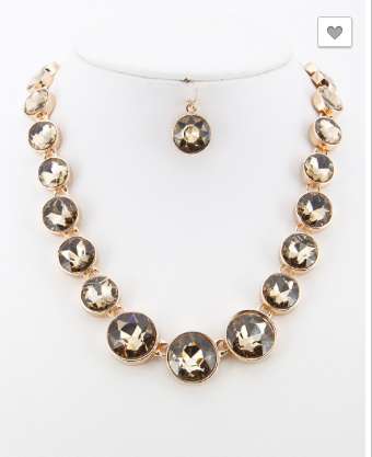 *Rhinestone Collar Statement Necklace Set