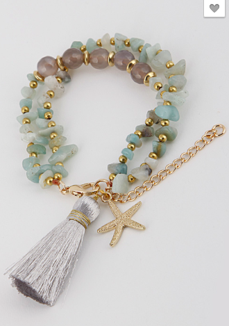 Starfish Charm and Bead Bracelet