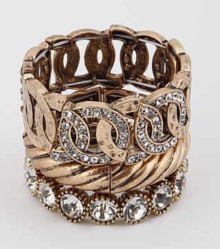 Antique Style Bracelet Set with Rhinestone Details