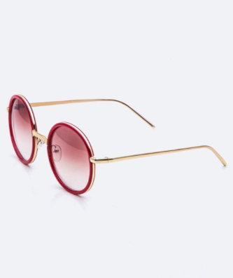 Near Circle Sunglasses with Gold Tone