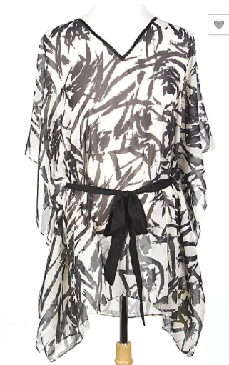 Abstract Painted Belt Attached Poncho