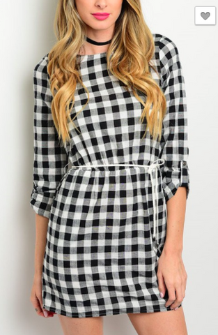 Gingham Print Woven Dress