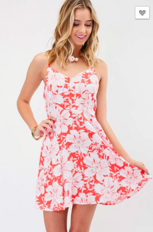 Private Island Floral Print Dress with Corset Back