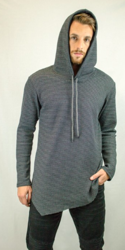 Long Line Drop Shoulder Raw Edge Asymmetric Waffle Hoodie
