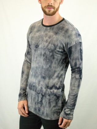 Long Sleeve Crew Neck Tie Dye T Shirt