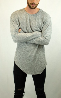 Long Line Drop Shoulder Cashmere Like Crew Neck Light Sweater