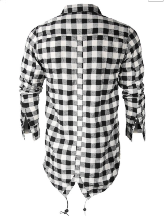 Men's Plaid Flannel Side Zipper Elongated Tall Shirt