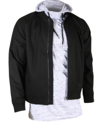 Men's Military Black Bomber Jacket with Side Pockets
