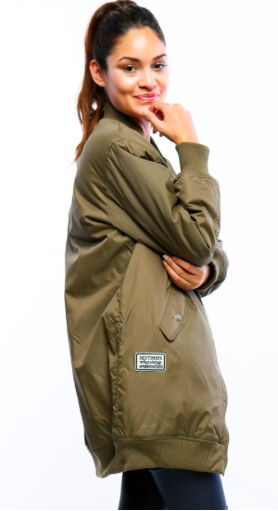 Long-line bomber jacket w/ pockets and patch