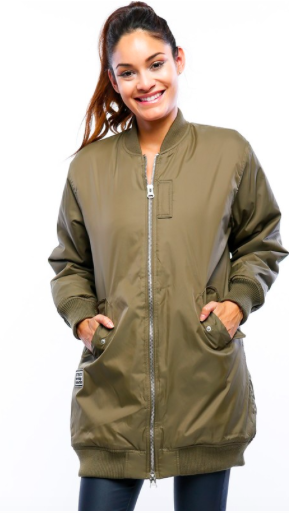 Long-line bomber jacket