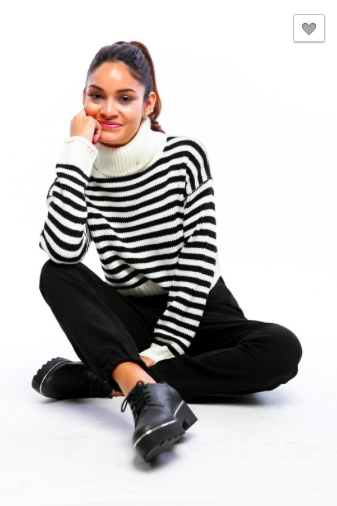 Turtleneck Stripe Midweight Sweater with Ribbed Trim