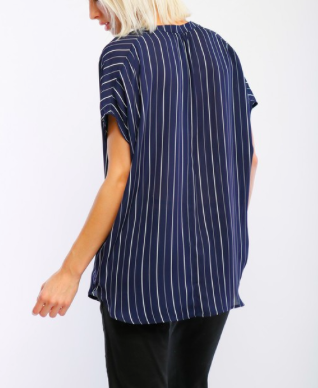 Short Sleeve V-Neck Striped Top