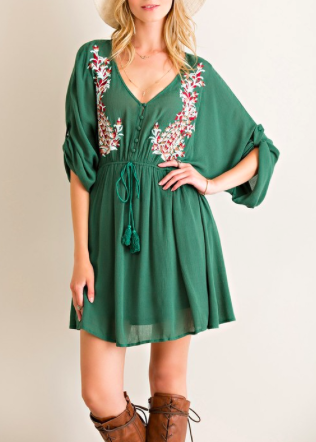 Solid Kimono Dress Featuring Roll Up Sleeves
