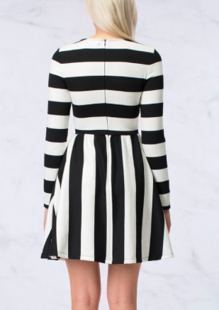 Stripe Long Sleeve Dress With Swing Skirt