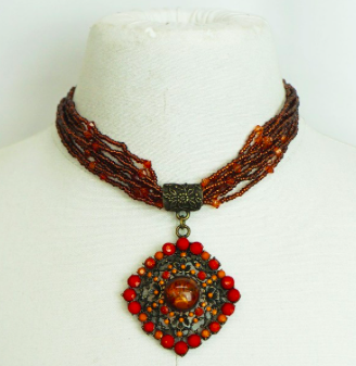 Beaded with Amber Pandant