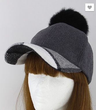Plad Inspired Faux Puff Ball Cap