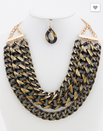 Two Tone Layered Chain Necklace Set