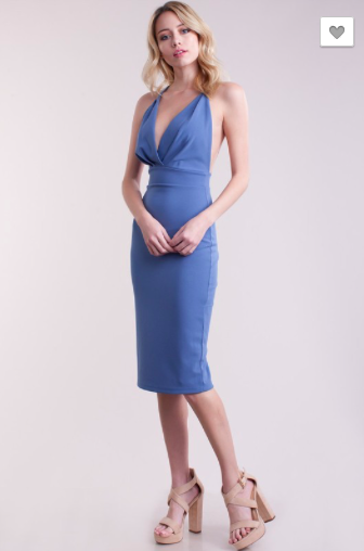 Sleeveless Wrapped Bodycon Midi Dress