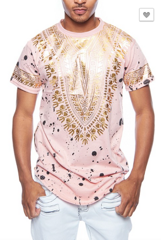 *Metallic Dashiki Paint Splatter T-Shirt