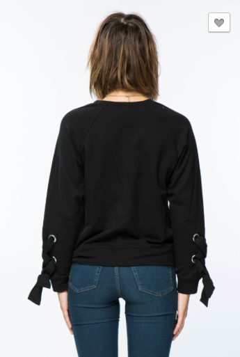 *Sweater Shirt with Lace Up Sleeves Detail.