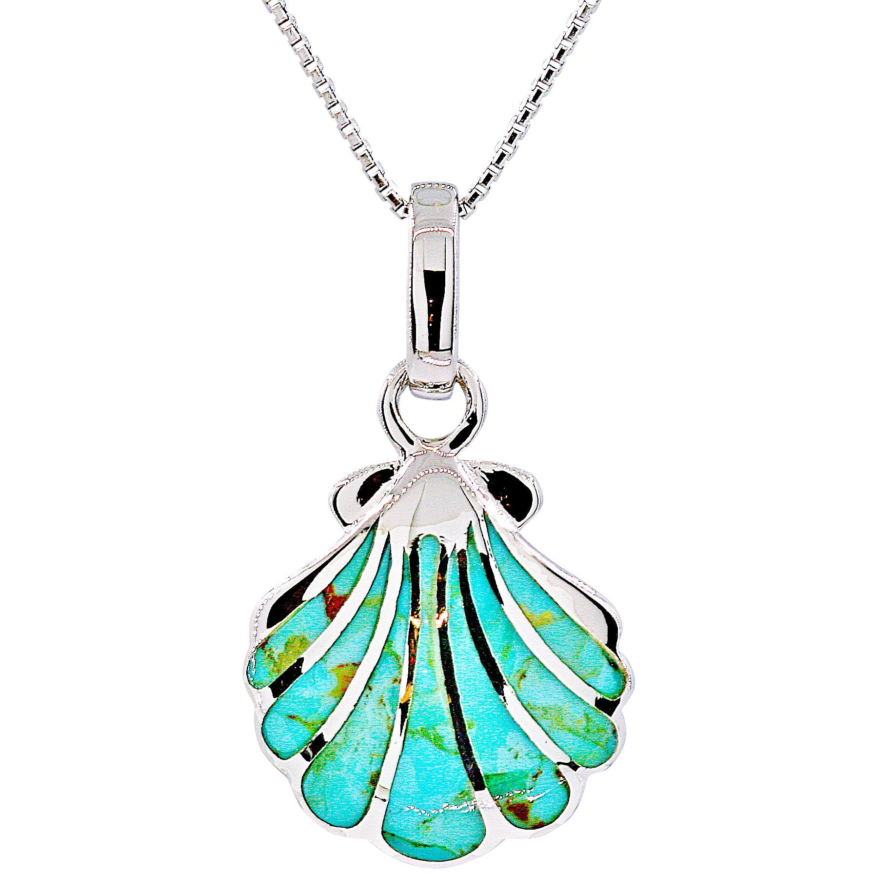 Turquoise Fan Shell Necklace