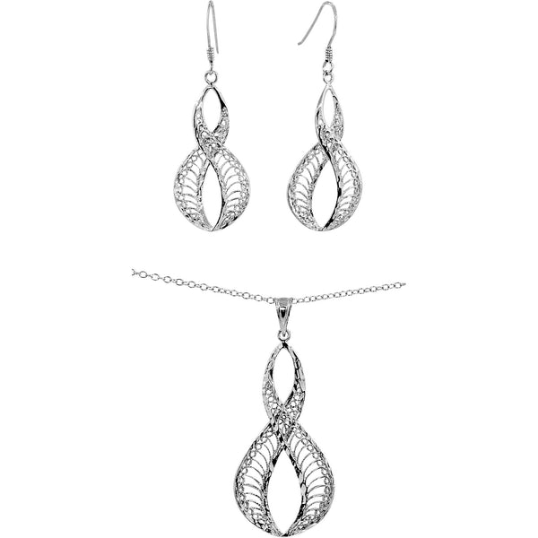 Filigree Infinity Necklace & Earring Set