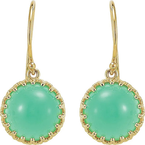 Chrysoprase Dangle Gold Earrings