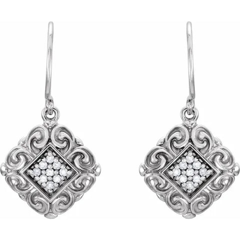 Diamond Vintage Scroll Earrings