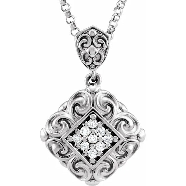 Diamond Vintage Scroll Necklace