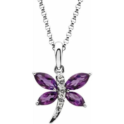 Amethyst and Diamond Dragon Fly Necklace